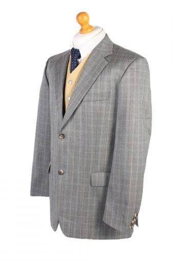 Vintage Hugo Boss Window Pane Blazer Jacket Chest 45 Grey HT2490-101115