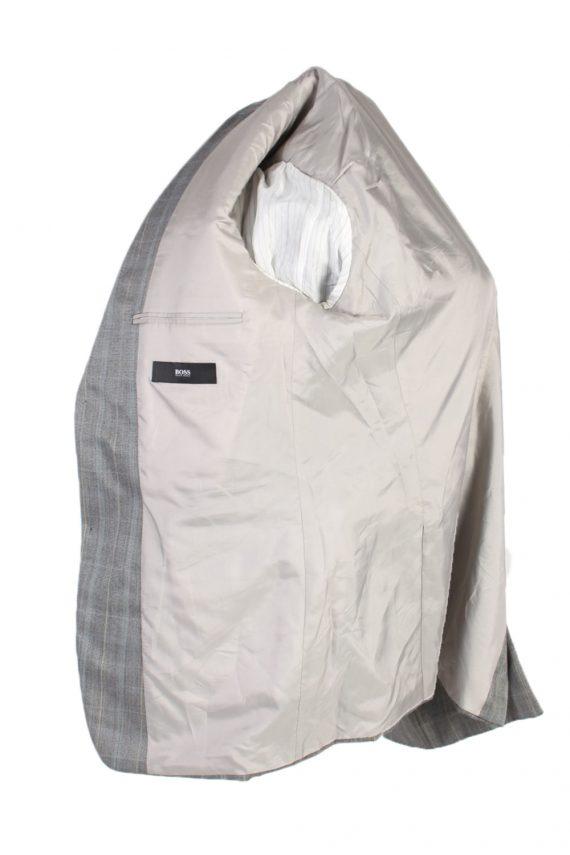 Vintage Hugo Boss Window Pane Blazer Jacket Chest 45 Grey HT2490-101117