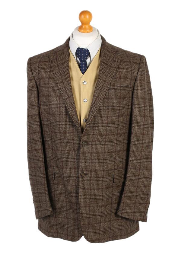 Vintage Burberry's Bond Street Window Pane Blazer Jacket Chest 43 Brown HT2515-0