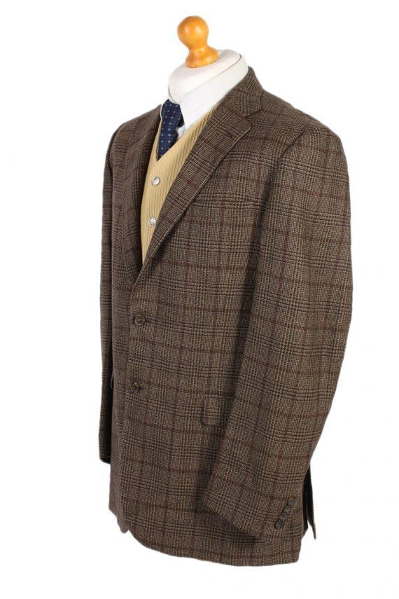 Vintage Burberry's Bond Street Window Pane Blazer Jacket Chest 43 Brown HT2515-101240