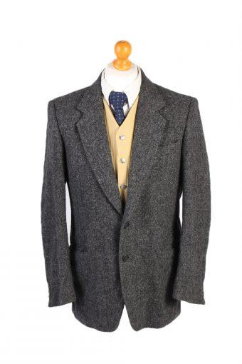 Harris Tweed Blazer Jacket Hirmer Plain Grey M