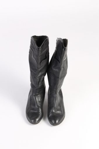 Vintage Ladies Boots Shoes Leather Casual Smart UK 4.5 Black S576-101424