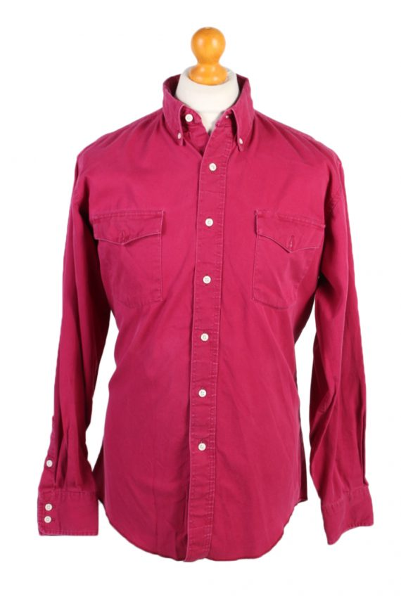 Vintage Wrangler Denim Shirt Cowboy Cut Regular Fit L Fushia SH3585-0