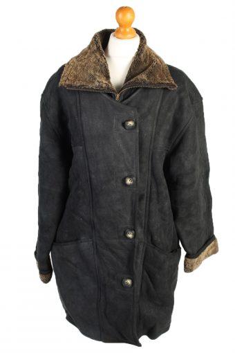 Vintage Fur Lined Coat Sheepskin Leather XL Black