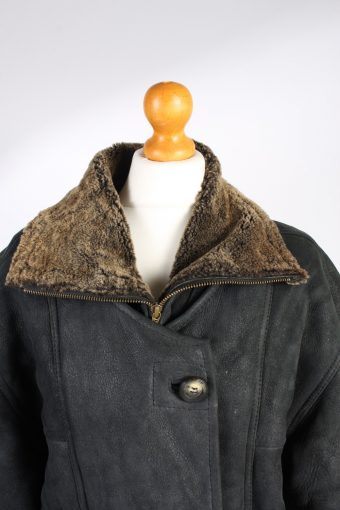 Vintage Fur Lined Coat Sheepskin Leather XL Black -C1291-103638