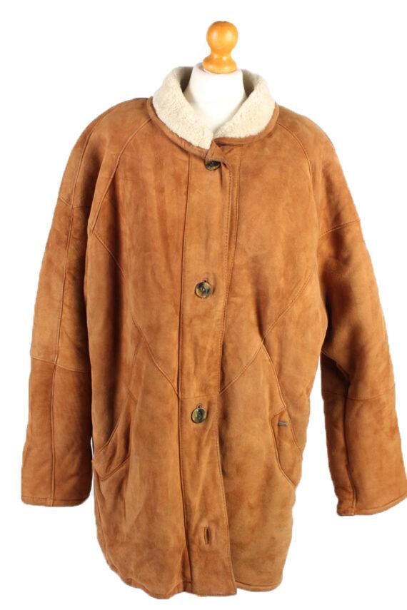 Vintage Fur Lined Coat Sheepskin Leather XXL Camel -C1299-0