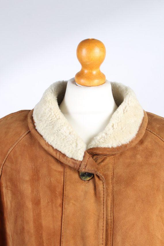 Vintage Fur Lined Coat Sheepskin Leather XXL Camel -C1299-103678