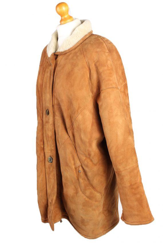 Vintage Fur Lined Coat Sheepskin Leather XXL Camel -C1299-103679