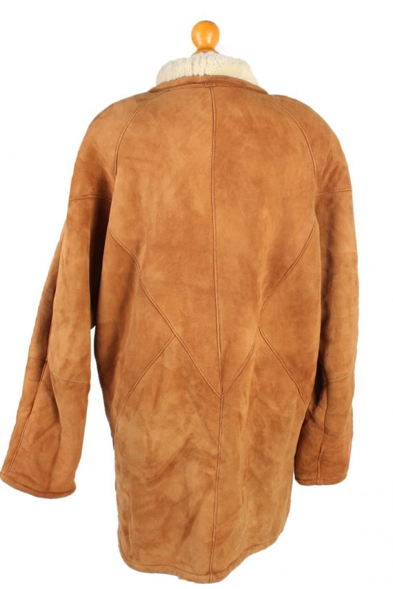 Vintage Fur Lined Coat Sheepskin Leather XXL Camel -C1299-103680