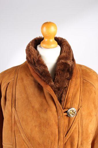 Vintage Fur Lined Coat Sheepskin Leather M Camel -C1300-103683