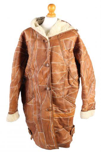 Vintage Fur Lined Coat Sheepskin Leather M Camel