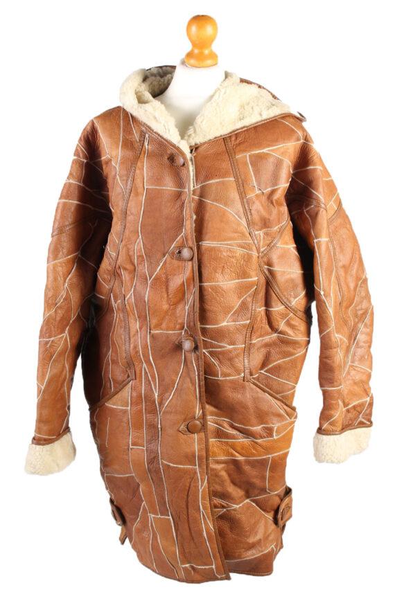 Vintage Fur Lined Coat Sheepskin Leather M Camel -C1301-0
