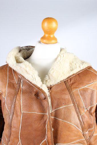 Vintage Fur Lined Coat Sheepskin Leather M Camel -C1301-103688