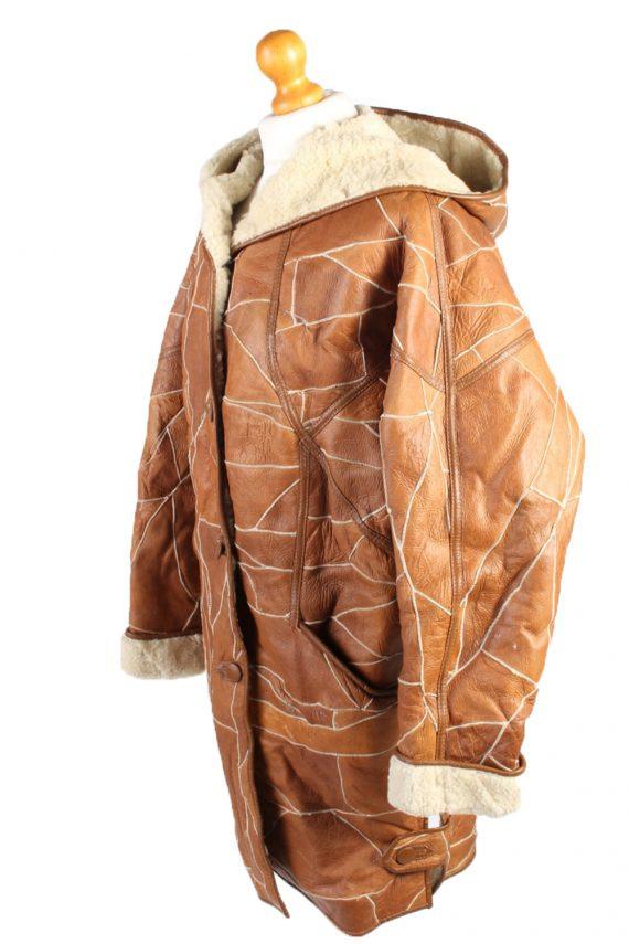 Vintage Fur Lined Coat Sheepskin Leather M Camel -C1301-103689