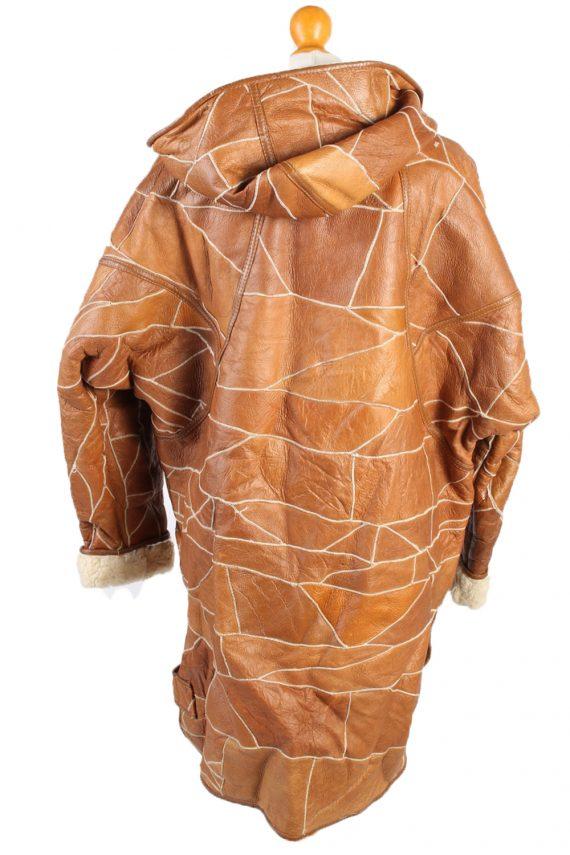 Vintage Fur Lined Coat Sheepskin Leather M Camel -C1301-103690
