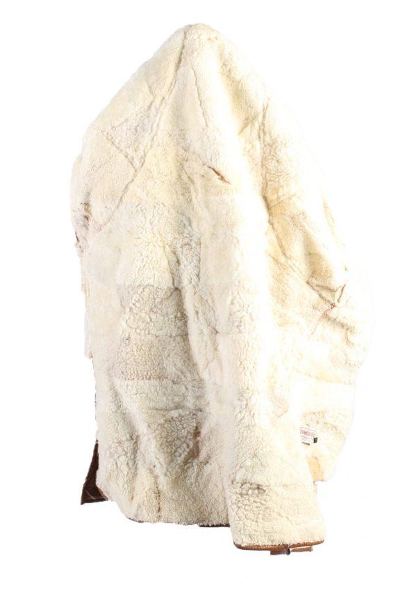 Vintage Fur Lined Coat Sheepskin Leather M Camel -C1301-103691