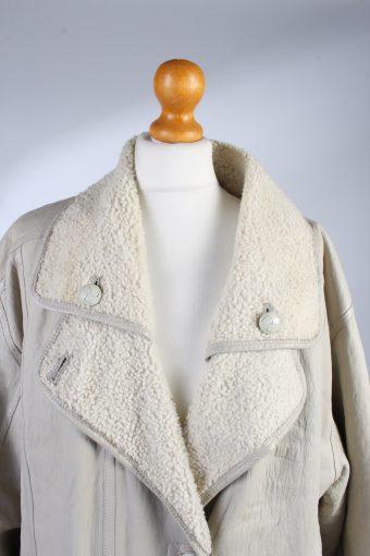 Ladies Designer Vintage Leather Sheepskin Fur XL White -C1307-103762