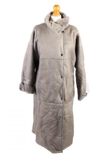 Vintage Fur Lined Coat Sheepskin Leather L Grey