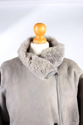 Vintage Fur Lined Coat Sheepskin Leather L Grey -C1311-103782