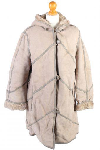 Vintage Fur Lined Coat Sheepskin Leather M Beige