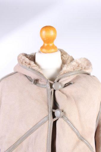 Vintage Fur Lined Coat Sheepskin Leather M Beige -C1315-103802
