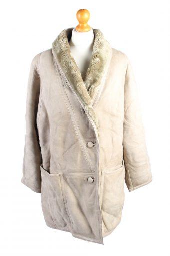 Vintage Fur Lined Coat Sheepskin Leather L Beige