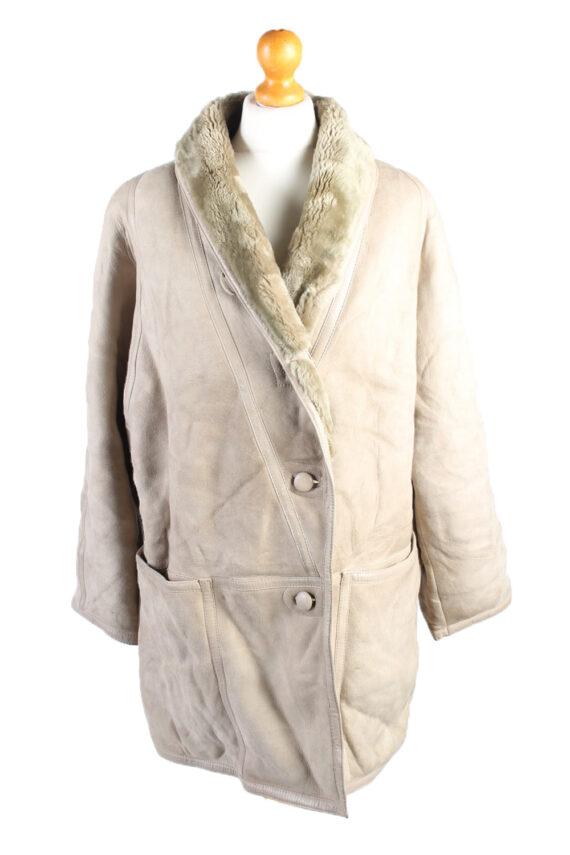 Vintage Fur Lined Coat Sheepskin Leather L Beige -C1316-0