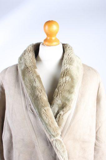 Vintage Fur Lined Coat Sheepskin Leather L Beige -C1316-103807