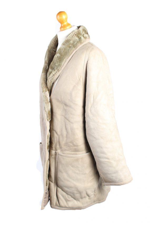 Vintage Fur Lined Coat Sheepskin Leather L Beige -C1316-103808