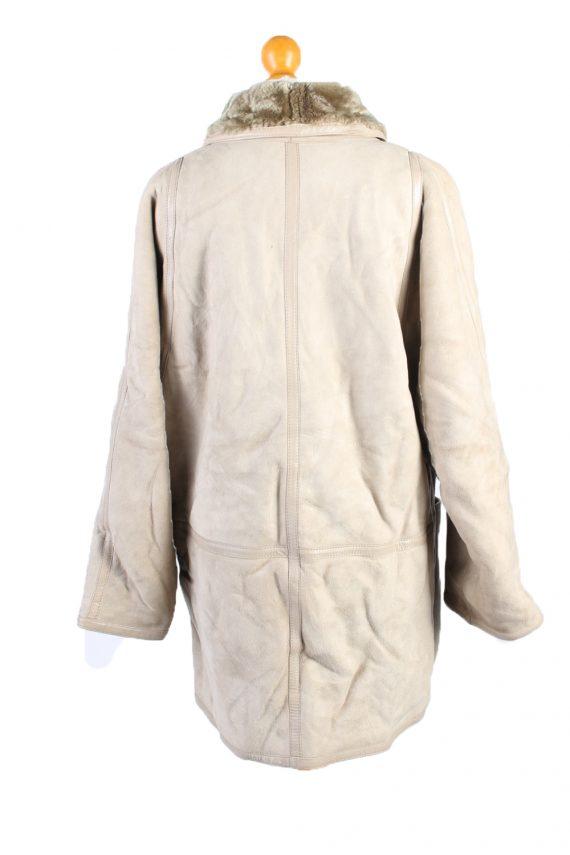 Vintage Fur Lined Coat Sheepskin Leather L Beige -C1316-103809