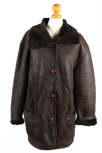 Shearling Tan Jacket Vintage Sheepskin Leather L Brown