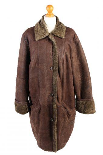 Shearling Tan Jacket Vintage Sheepskin Leather XL Brown