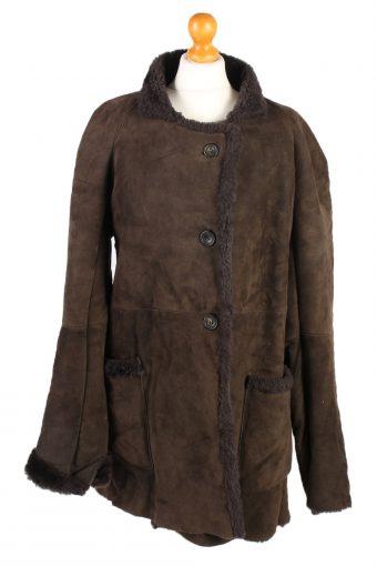 Shearling Tan Jacket Vintage Sheepskin Leather M Brown