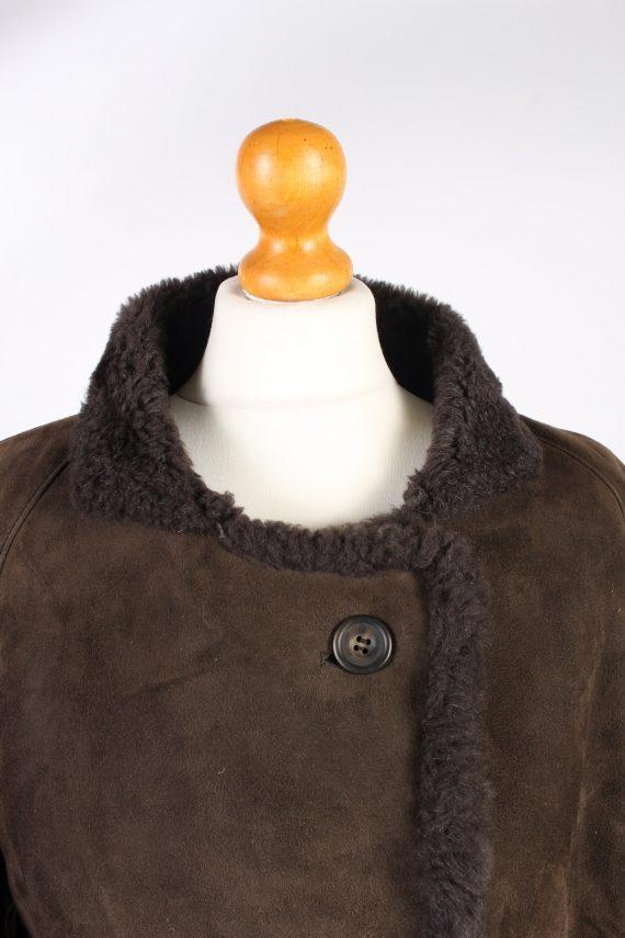 Shearling Tan Jacket Vintage Sheepskin Leather M Brown -C1327-103862