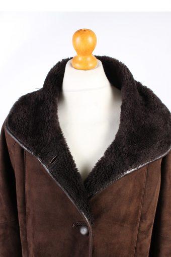Shearling War Jacket Vintage Sheepskin Leather XL Brown -C1355-104046