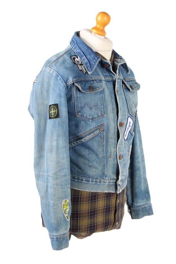 Vintage Blue Denim Jacket Harley Davidson Printed S Blue -DJ1489-101813