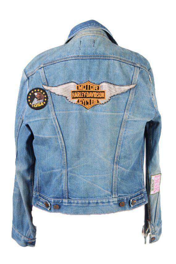 Vintage Blue Denim Jacket Harley Davidson Printed S Blue -DJ1489-101814