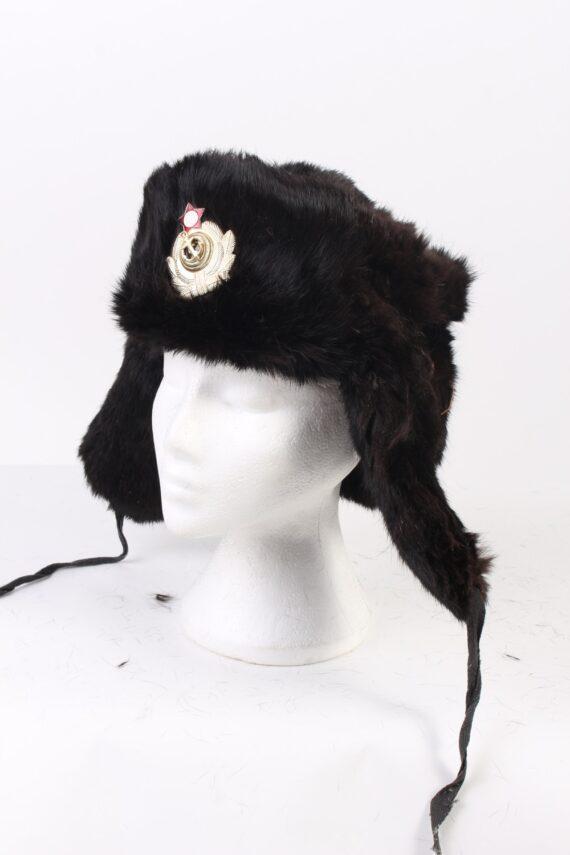Vintage Fur Hat Russian Style Arm C.C.C.P Black HAT333-0