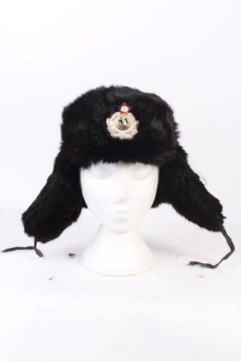 Vintage Fur Hat Russian Style Arm C.C.C.P Black HAT333-102813