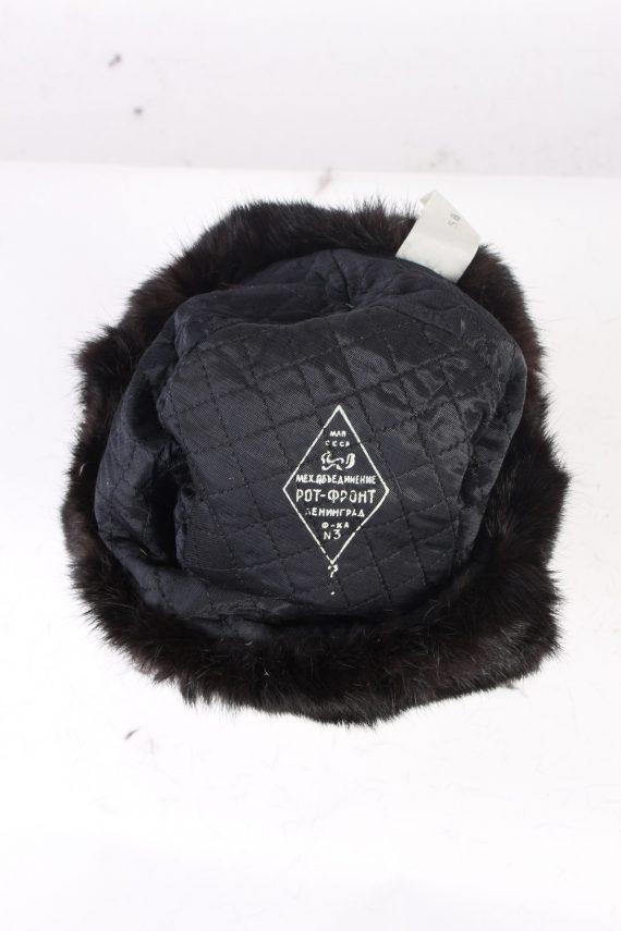 Vintage Fur Hat Russian Style Arm C.C.C.P Black HAT333-102815