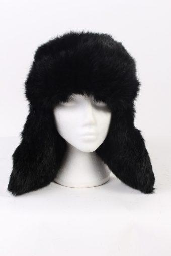 Vintage Fur Hat Canadian Style Faux Black HAT345-102861