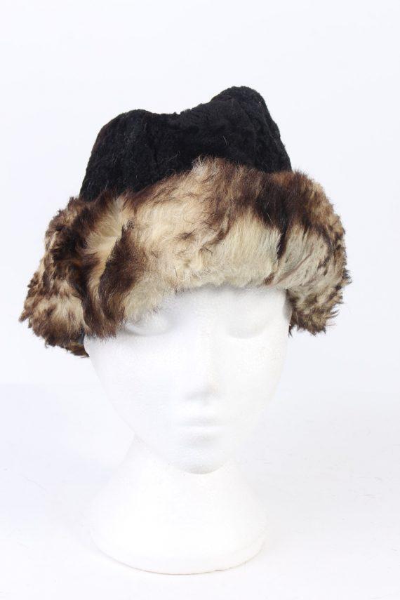 Vintage Fur Hat European Style Faux Black HAT402-103083