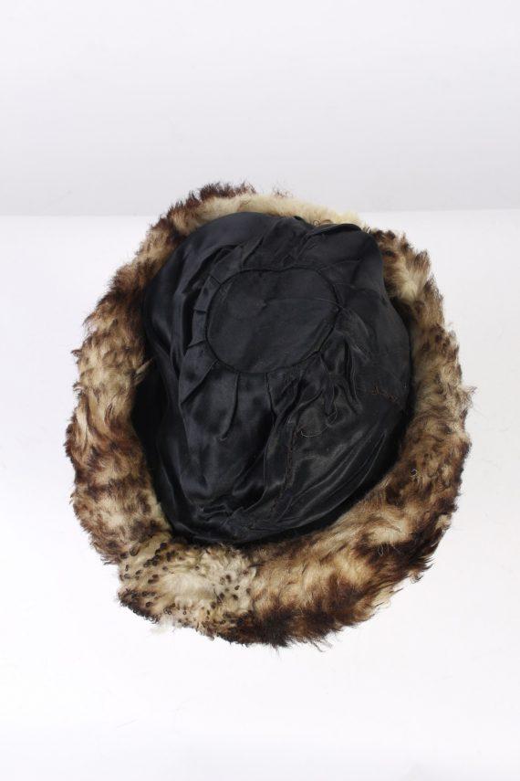 Vintage Fur Hat European Style Faux Black HAT402-103085