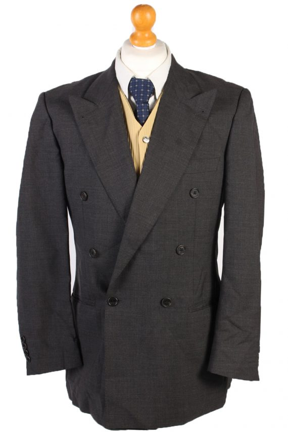 Vintage Burberry Wool Plain Blazer Jacket Chest 46 Grey HT2564-0