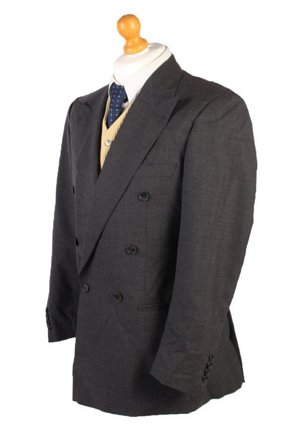 Vintage Burberry Wool Plain Blazer Jacket Chest 46 Grey HT2564-103256