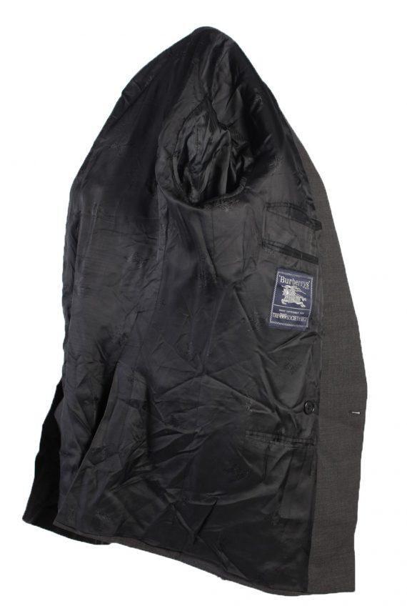 Vintage Burberry Wool Plain Blazer Jacket Chest 46 Grey HT2564-103258