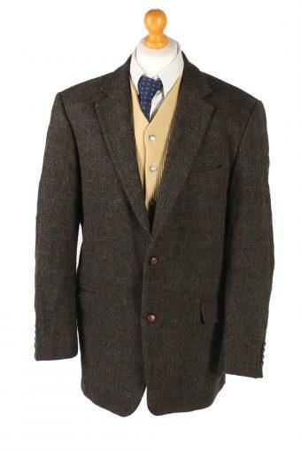 Harris Tweed Blazer Jacket Herringbone Patched L