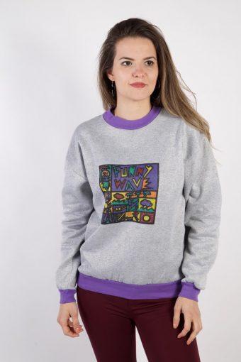 Crew Neck Sweatshirt 90s Retro Grey S