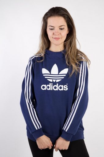 Adidas Track Top Hoodie 90s Retro Blue M