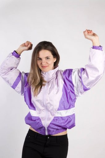 90s Retro Track Top Shell High Neck Lilac S
